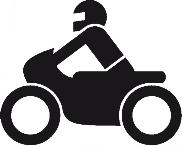 Motorradfahrer - Symbol aus Thermoplastik