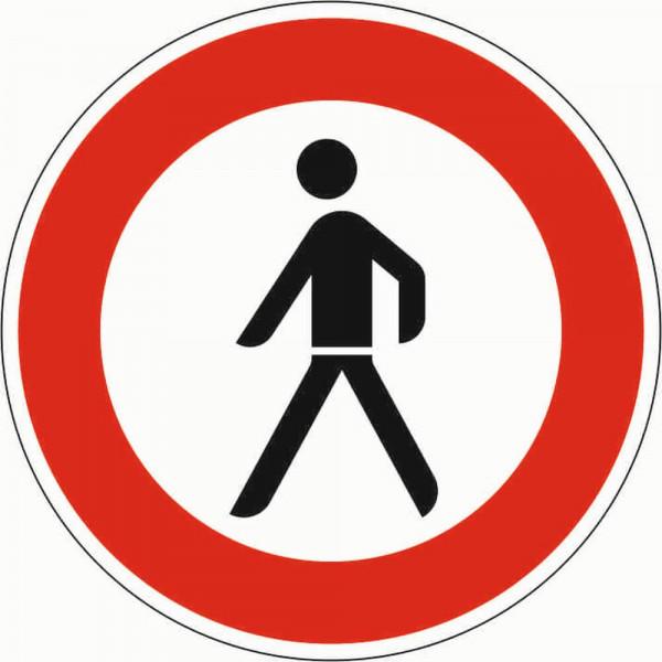Verbot für Fußgänger VZ 259 aus Thermoplastik