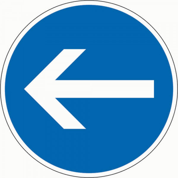 Vorgeschriebene Fahrtrichtung hier links VZ 211-10 aus Thermoplastik