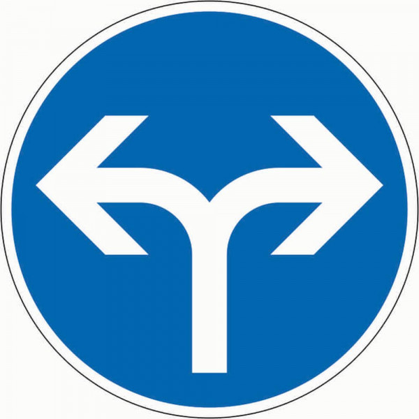 Fahrtrichtung links oder rechts VZ 214-30 aus Thermoplastik